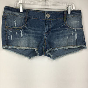 Almost Famous 17 Blue Jean Shorts Cutoff